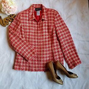 Sag Harbor Jacket Tweed Checkered Orange Zip 14